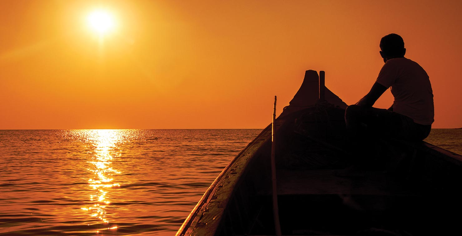 Sunset Boat by Indraneel Guha